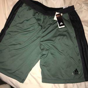NWT Adidas Climalite Olive/black shorts w/pockets